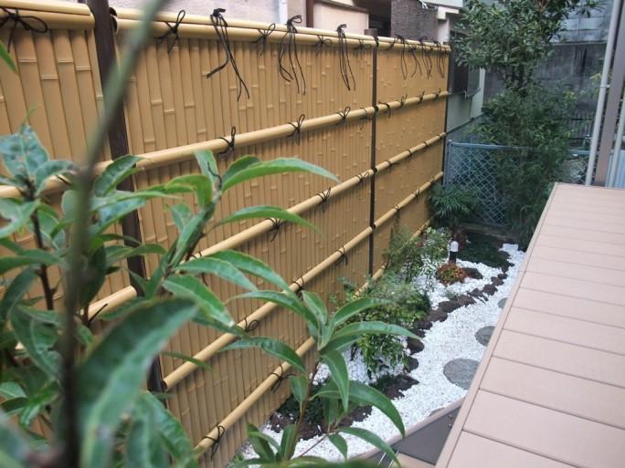 人工竹垣を使った和風のお庭 茨木市 K様邸1