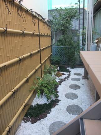 人工竹垣を使った和風のお庭 茨木市 K様邸3