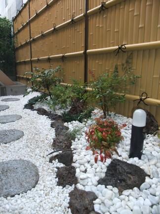 人工竹垣を使った和風のお庭 茨木市 K様邸4