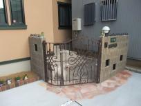 堺市 O様邸 外開きアルミ鋳物門扉を使用した外構工事