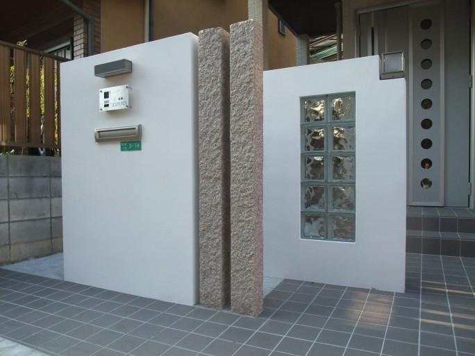 ガラスブロックを使った門柱 阿倍野区 K様邸2
