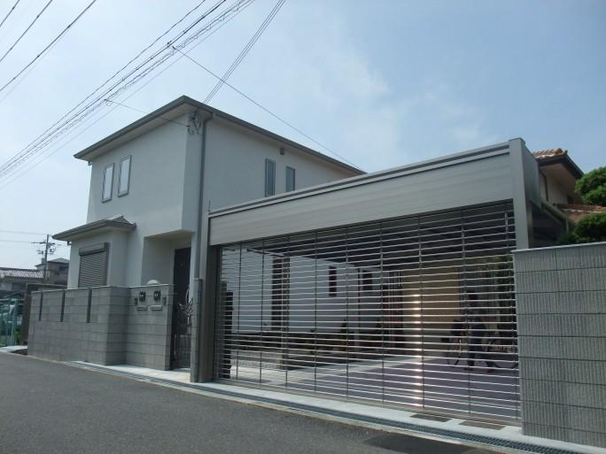 2台用シャッター付き車庫 岸和田市 S様邸1