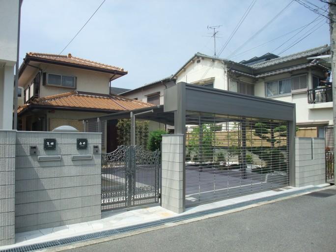 2台用シャッター付き車庫 岸和田市 S様邸2