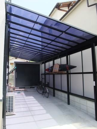テラスポートを使用したオープン外構 羽曳野市 T様邸3