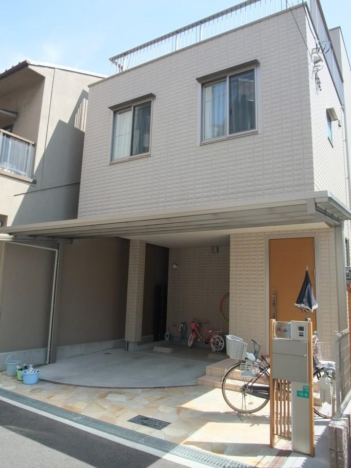 乱形石を使った上品でオシャレなオープン外構 大阪市阿倍野区 A様邸1